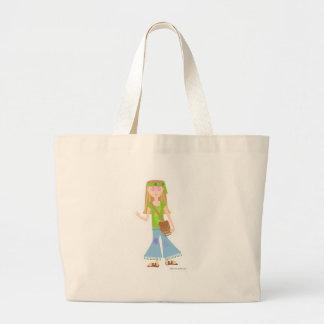 Sassy Hippie Girl Large Tote Bag