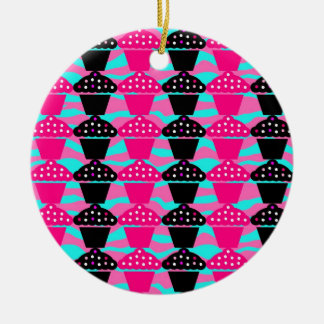 Sassy Hot Pink and Black Cupcake and Zebra Stripe Round Ceramic Ornament