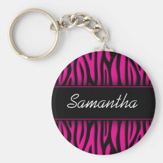 Sassy Hot Pink Zebra Personalized Keychain