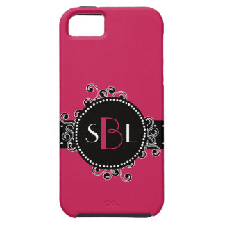 Sassy Intense Dark Pink with Fancy Swirl Girly Tag iPhone 5 Case