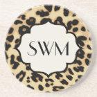 Sassy Leopard Print Monogrammed Coaster