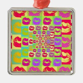 Sassy Lips POP Art Silver-Colored Square Ornament