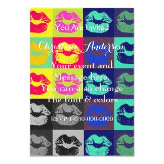 "Sassy Lips Tri Colors 3.5"" X 5"" Invitation Card"