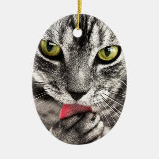 Sassy Little Cat - Flirty Kitty Ceramic Oval Ornament