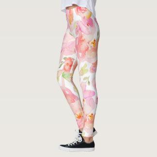 Sassy Modern Pink Floral Leggings