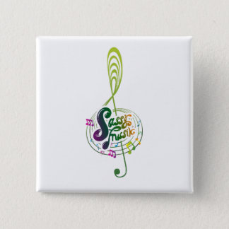 Sassy Musik badge 2 Inch Square Button