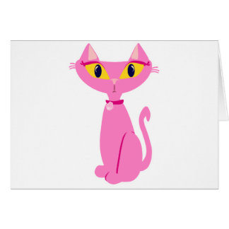 Sassy Pink Retro Cat Card