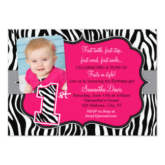 Sassy Pink Zebra Print First Birthday Invitation