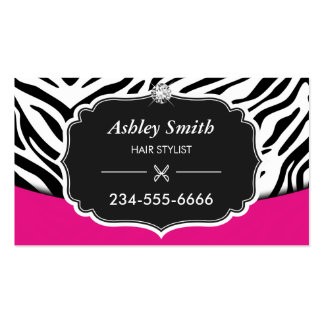 Sassy Pink Zebra Print Hair Stylist Appointment Business Card
