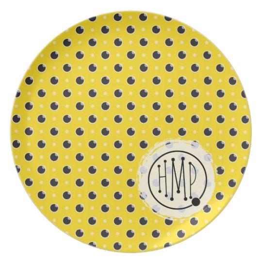 Sassy Polka Dot Monogram Plate - Yellow