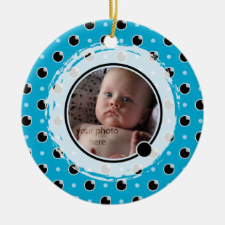 Sassy Polka Dot Photo Ornament - Aqua