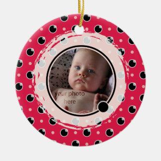 Sassy Polka Dot Photo Ornament - Berry Pink