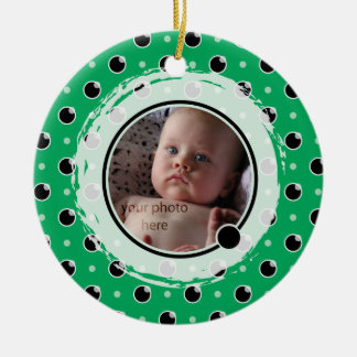 Sassy Polka Dot Photo Ornament - Green