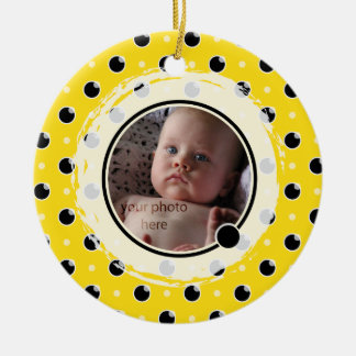 Sassy Polka Dot Photo Ornament - Yellow