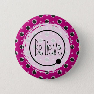 Sassy Polka Dots Believe Button - Purple