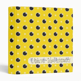 Sassy Polka Dots School Binder - Yellow