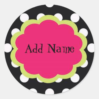 Sassy Polkadot Customizable Sticker for Girls