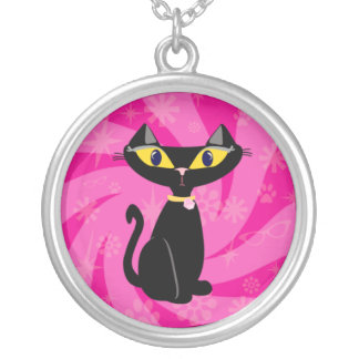 Sassy Retro Black Cat Silver Plated Necklace