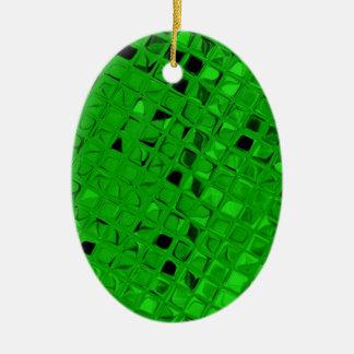 Sassy Shiny Metallic Emerald Green Diamond Ceramic Oval Ornament