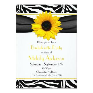 Sassy Sunflower Zebra Print Bachelorette Party Card