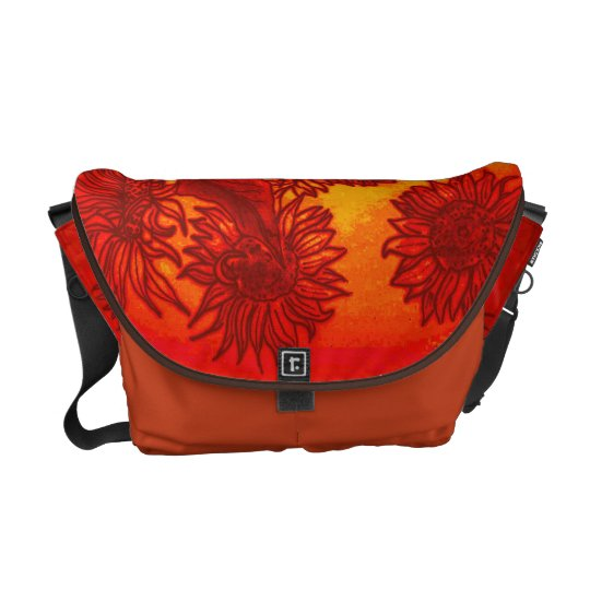 Sassy Sunflowers in Orange Messenger Bag