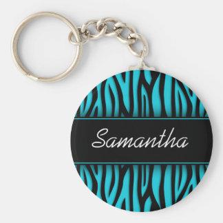 Sassy Teal Blue Zebra Personalized Keychain