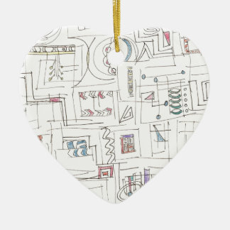 Sassy-Whimsical Pattern Print Ceramic Heart Ornament