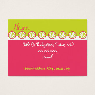 Sassy Zebra Babysitter Business Cards