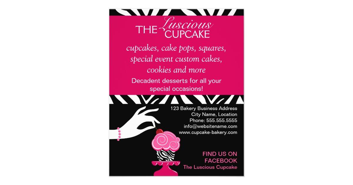 Sassy Zebra Cupcake Bakery Flyer Zazzle Ca