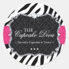 Sassy Zebra Cupcake - Packaging Stickers
