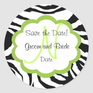 Sassy Zebra Save the Date Monogram Sticker