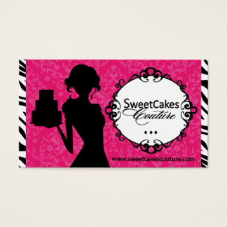 Sassy Zebra Stripe Cupcake Business Card