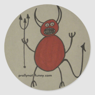 satan has braces classic round sticker