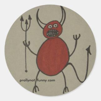 satan has braces round sticker
