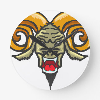 Satan Horned Beast Sketch Round Clock