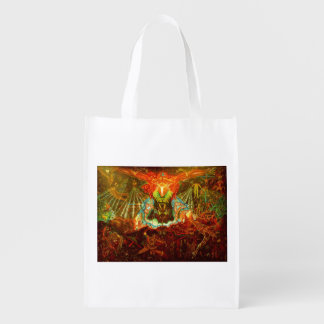 Satan inspiring the world reusable grocery bag