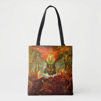 Satan inspiring the world tote bag
