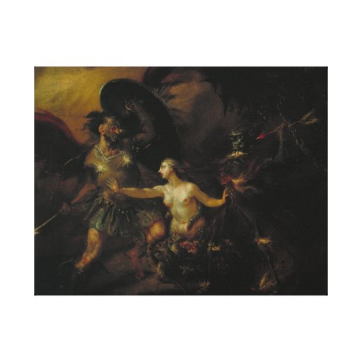 Satan, Sin and Death Stretched Canvas Print