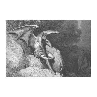 Satan Thinking Stretched Canvas Art Canvas Print