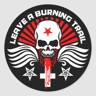 Satanic Biker Skull and Slogan Round Sticker