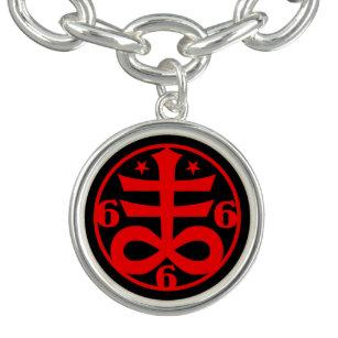 Satanic Cross Goth Occult Symbol Charm Bracelet
