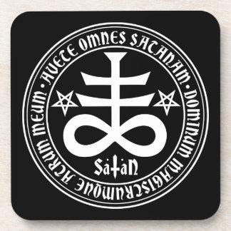 Satanic Cross with Hail Satan Text and Pentagrams Coaster