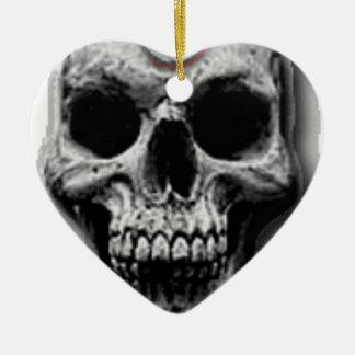 Satanic Evil Skull Design Ceramic Heart Ornament