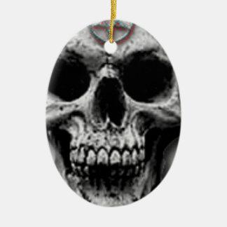 Satanic Evil Skull Design Ceramic Oval Ornament