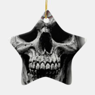 Satanic Evil Skull Design Ceramic Star Ornament