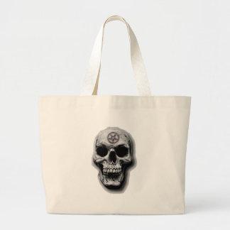 Satanic Evil Skull Design Large Tote Bag