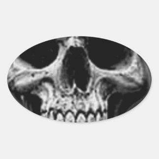 Satanic Evil Skull Design Oval Sticker