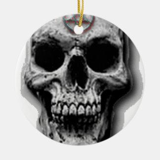 Satanic Evil Skull Design Round Ceramic Ornament