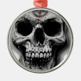 Satanic Evil Skull Design Silver-Colored Round Ornament