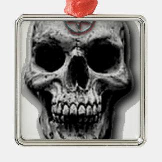 Satanic Evil Skull Design Silver-Colored Square Ornament